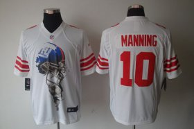 Wholesale Cheap Nike Giants #10 Eli Manning White Men\'s Stitched NFL Helmet Tri-Blend Limited Jersey