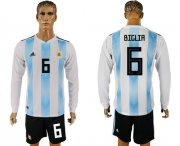 Wholesale Cheap Argentina #6 Biglia Home Long Sleeves Soccer Country Jersey