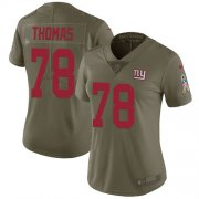 Wholesale Cheap Nike Giants #78 Andrew Thomas Olive Women's Stitched NFL Limited 2017 Salute To Service Jersey
