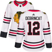 Wholesale Cheap Adidas Blackhawks #12 Alex DeBrincat White Road Authentic Women's Stitched NHL Jersey