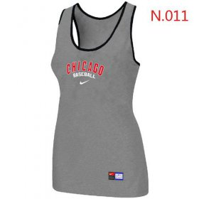 Wholesale Cheap Women\'s Nike Chicago Cubs Tri-Blend Racerback Stretch Tank Top Light Grey