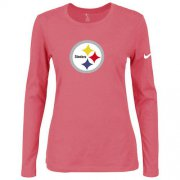 Wholesale Cheap Women's Nike Pittsburgh Steelers Of The City Long Sleeve Tri-Blend NFL T-Shirt Pink