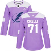 Cheap Adidas Lightning #71 Anthony Cirelli Purple Authentic Fights Cancer Women's Stitched NHL Jersey