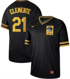 Wholesale Cheap Nike Pirates #21 Roberto Clemente Black Authentic Cooperstown Collection Stitched MLB Jersey