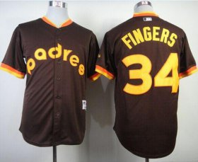 Wholesale Cheap Padres #34 Rollie Fingers Coffee 1984 Turn Back The Clock Stitched MLB Jersey