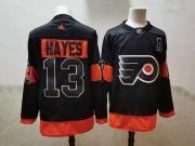 Wholesale Cheap Men's Philadelphia Flyers #13 Kevin Hayes Black Adidas 2020-21 Stitched NHL Jersey