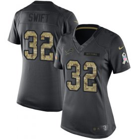 Wholesale Cheap Nike Lions #32 D\'Andre Swift Black Women\'s Stitched NFL Limited 2016 Salute to Service Jersey