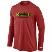 Wholesale Cheap Nike Pittsburgh Steelers Authentic Font Long Sleeve T-Shirt Red