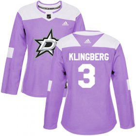 Wholesale Cheap Adidas Stars #3 John Klingberg Purple Authentic Fights Cancer Women\'s Stitched NHL Jersey