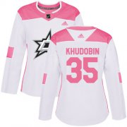 Cheap Adidas Stars #35 Anton Khudobin White/Pink Authentic Fashion Women's Stitched NHL Jersey