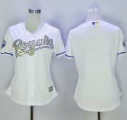 Wholesale Cheap Royals Blank White Women's 2015 World Series Champions Gold Program Cool Base Stitched MLB Jersey