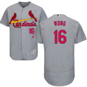 Wholesale Cheap Cardinals #16 Kolten Wong Grey Flexbase Authentic Collection Stitched MLB Jersey