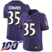 Wholesale Cheap Nike Ravens #35 Gus Edwards Purple Team Color Youth Stitched NFL 100th Season Vapor Untouchable Limited Jersey