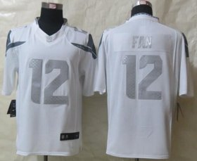 Wholesale Cheap Nike Seahawks #12 Fan White Men\'s Stitched NFL Limited Platinum Jersey