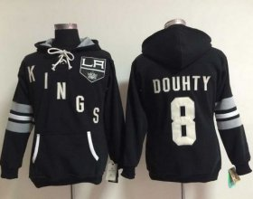 Wholesale Cheap Los Angeles Kings #8 Drew Doughty Black Women\'s Old Time Heidi NHL Hoodie