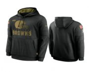 Wholesale Cheap Men's Cleveland Browns Black 2020 Salute to Service Sideline Performance Pullover Hoodie