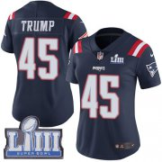 Wholesale Cheap Nike Patriots #45 Donald Trump Navy Blue Super Bowl LIII Bound Women's Stitched NFL Limited Rush Jersey