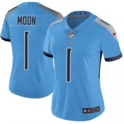 Wholesale Cheap Nike Titans #1 Warren Moon Light Blue Alternate Women's Stitched NFL Vapor Untouchable Limited Jersey