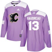 Wholesale Cheap Adidas Flames #13 Johnny Gaudreau Purple Authentic Fights Cancer Stitched Youth NHL Jersey
