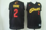 Wholesale Cheap Men's Cleveland Cavaliers 2 Kyrie Irving 2017 The NBA Finals Patch Black With Red Fashion Jersey