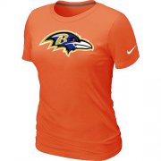Wholesale Cheap Women's Nike Baltimore Ravens Logo NFL T-Shirt Orange