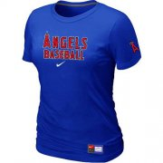 Wholesale Cheap Women's Los Angeles Angels Nike Short Sleeve Practice MLB T-Shirt Blue