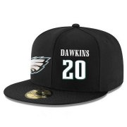 Wholesale Cheap Philadelphia Eagles #20 Brian Dawkins Snapback Cap NFL Player Black with White Number Stitched Hat