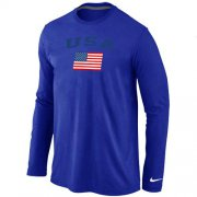 Wholesale Cheap USA Olympics USA Flag Collection Locker Room Long Sleeve T-Shirt Blue