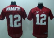 Wholesale Cheap Alabama Crimson Tide #12 Namath Red Jersey