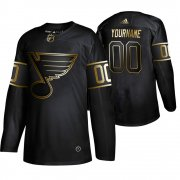 Wholesale Cheap Adidas Blues Custom Men's 2019 Black Golden Edition Authentic Stitched NHL Jersey