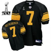 Wholesale Cheap Steelers #7 Ben Roethlisberger Black With Yellow Number Super Bowl XLV Stitched NFL Jersey