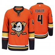 Wholesale Cheap Anaheim Ducks #4 Cam Fowler Men's 2019-20 Third Orange Alternate Stitched NHL Jersey