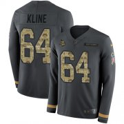 Wholesale Cheap Nike Vikings #64 Josh Kline Anthracite Salute to Service Men's Stitched NFL Limited Therma Long Sleeve Jersey