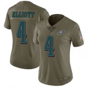 Wholesale Cheap Nike Eagles #4 Jake Elliott Olive Women's Stitched NFL Limited 2017 Salute to Service Jersey