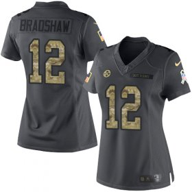 Wholesale Cheap Nike Steelers #12 Terry Bradshaw Black Women\'s Stitched NFL Limited 2016 Salute to Service Jersey