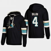 Wholesale Cheap San Jose Sharks #4 Brenden Dillon Black adidas Lace-Up Pullover Hoodie