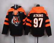 Wholesale Cheap Nike Bengals #97 Geno Atkins Black Player Pullover NFL Hoodie
