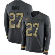 Wholesale Cheap Nike Browns #27 Kareem Hunt Anthracite Salute to Service Men's Stitched NFL Limited Therma Long Sleeve Jersey