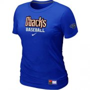 Wholesale Cheap Women's Arizona Diamondbacks Nike Short Sleeve Practice MLB T-Shirt Blue