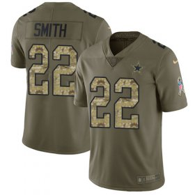 Wholesale Cheap Nike Cowboys #22 Emmitt Smith Olive/Camo Men\'s Stitched NFL Limited 2017 Salute To Service Jersey