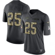 Wholesale Cheap Nike Seahawks #25 Richard Sherman Black Youth Stitched NFL Limited 2016 Salute to Service Jersey