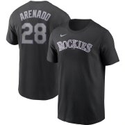 Wholesale Cheap Colorado Rockies #28 Nolan Arenado Nike Name & Number T-Shirt Black