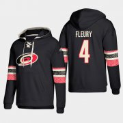 Wholesale Cheap Carolina Hurricanes #4 Haydn Fleury Black adidas Lace-Up Pullover Hoodie