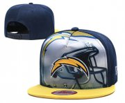 Wholesale Cheap Chargers Team Logo Navy Yellow Adjustable Leather Hat TX