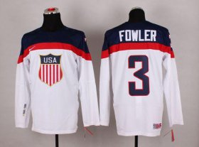 Wholesale Cheap 2014 Olympic Team USA #3 Cam Fowler White Stitched NHL Jersey