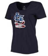 Wholesale Cheap Women's St.Louis Cardinals USA Flag Fashion T-Shirt Navy Blue