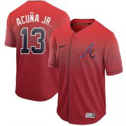 Wholesale Cheap Nike Braves #13 Ronald Acuna Jr. Red Fade Authentic Stitched MLB Jersey