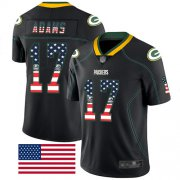 Wholesale Cheap Nike Packers #17 Davante Adams Black Men's Stitched NFL Limited Rush USA Flag Jersey