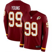 Wholesale Cheap Nike Redskins #99 Chase Young Burgundy Red Team Color Men's Stitched NFL Limited Therma Long Sleeve Jersey