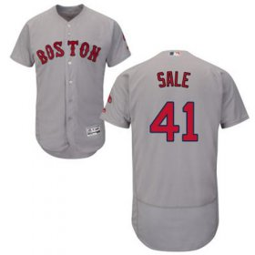 Wholesale Cheap Red Sox #41 Chris Sale Grey Flexbase Authentic Collection Stitched MLB Jersey